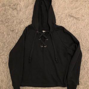 AERIE black lace up hoodie